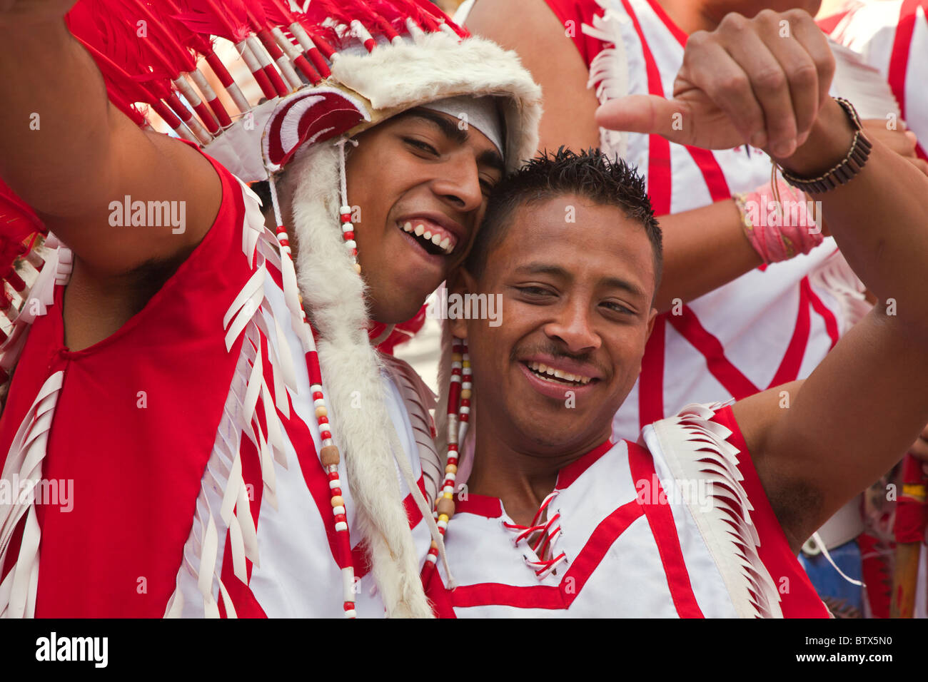 NATIVE DANCE TROUPES from all over MEXICO celebrate of San Miguel Arcangel, the patron saint of SAN MIGUEL DE ALLENDE Stock Photo