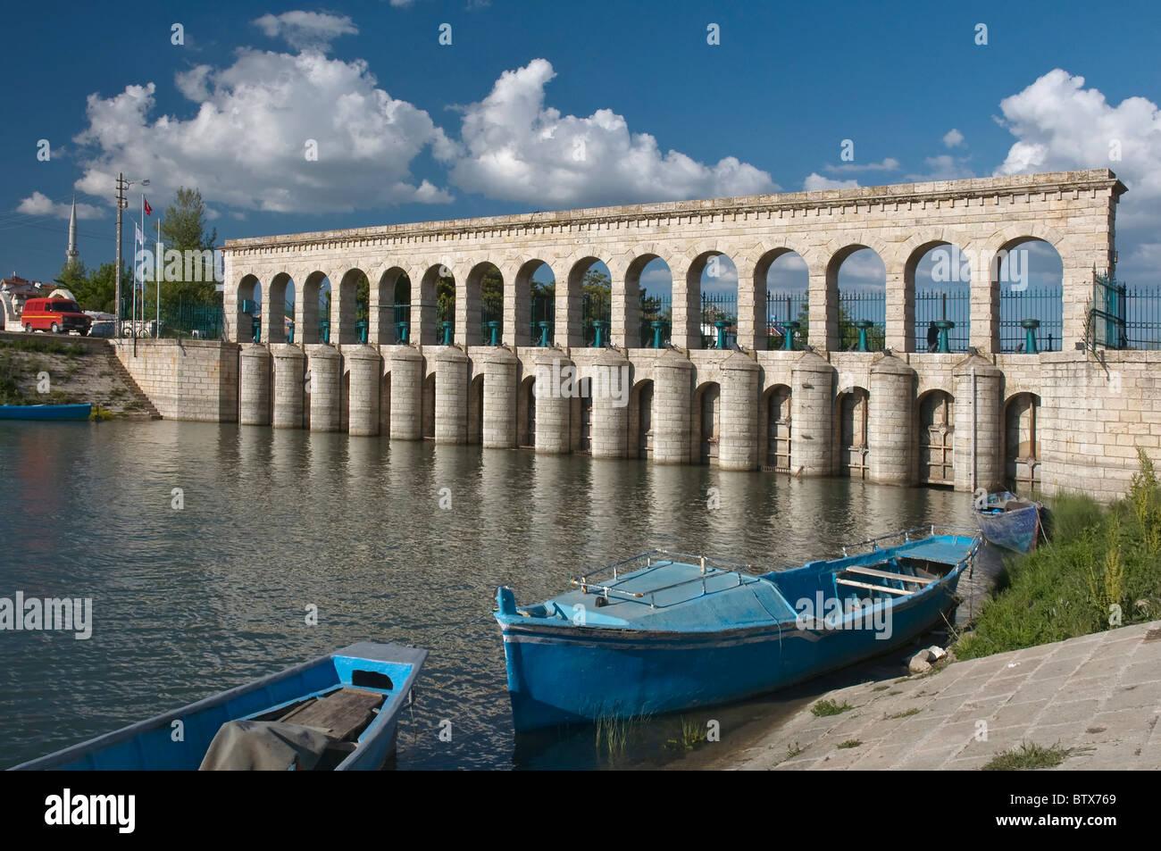 Taş Köprü (Stone Bridge) a historical regulator dam in Beyşehir,Konya,Turkey.It was built in the first - Stock Image