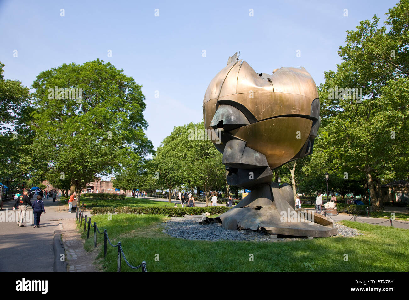 The Sphere by Fritz Koenig moved from the World Trade Center now in Battery Park