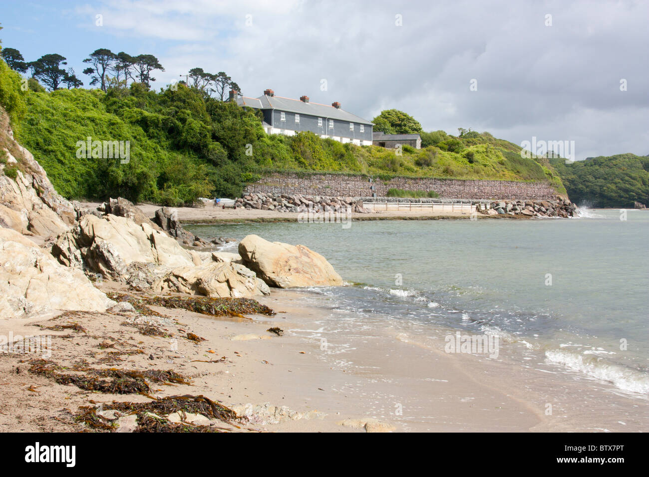 River Erme at Mothecombe Slipway Devon England - Stock Image