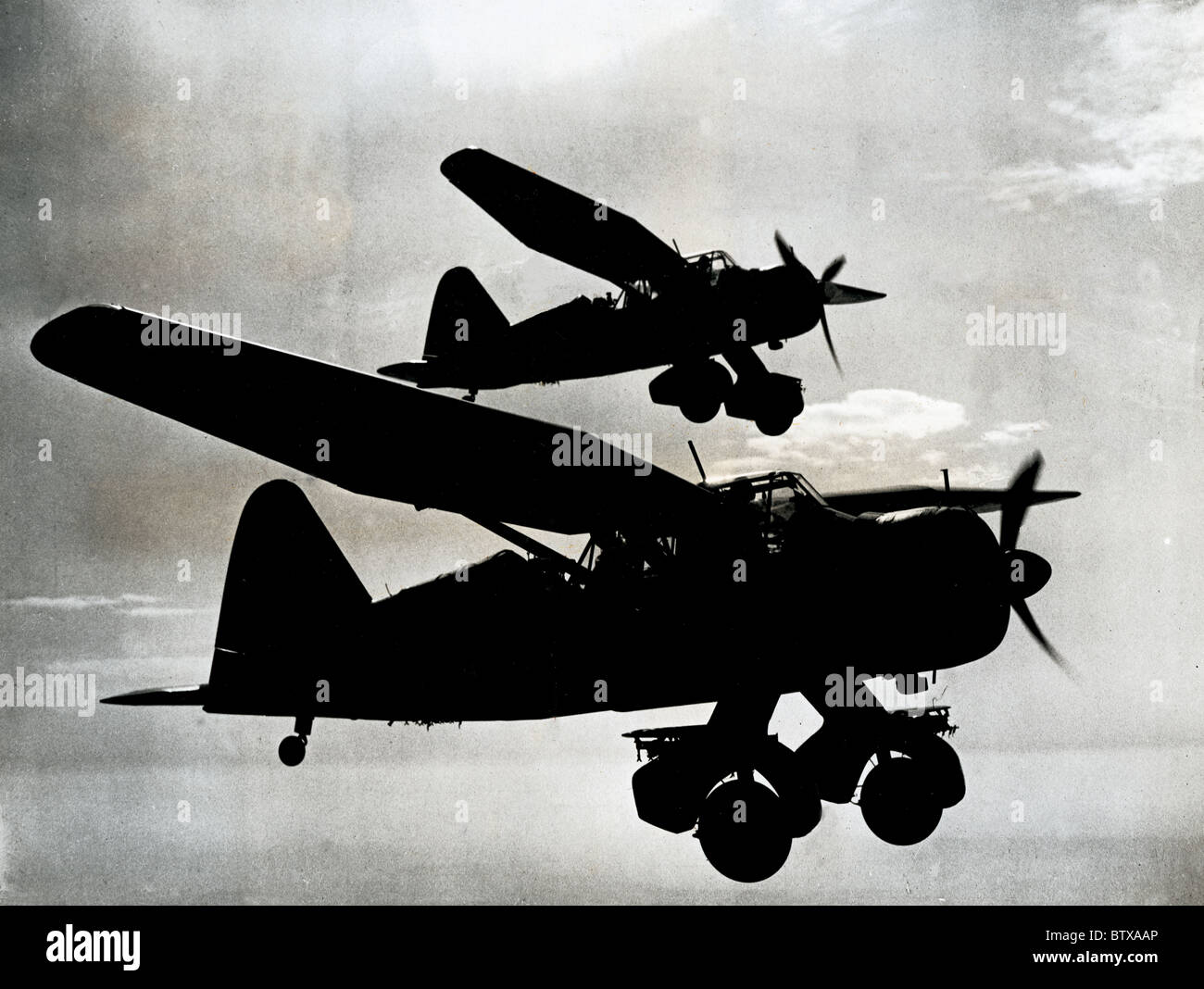 The Lysander used as artillery spotter planes or fitted with racks to carry small bombs, food, water or ammunition - Stock Image
