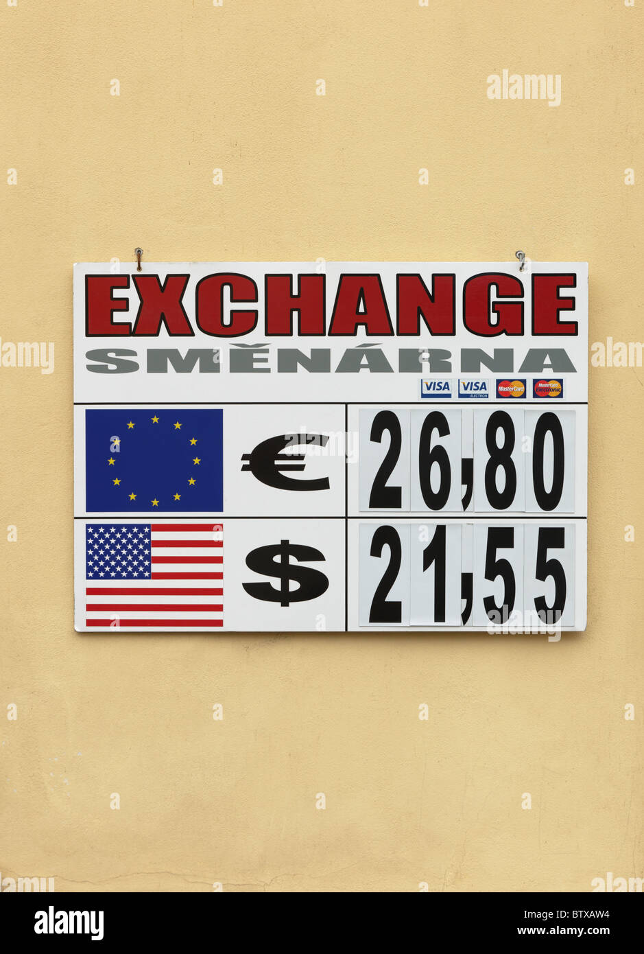 Forign currency exchange rate board Prague Czech Republic Europe - Stock Image