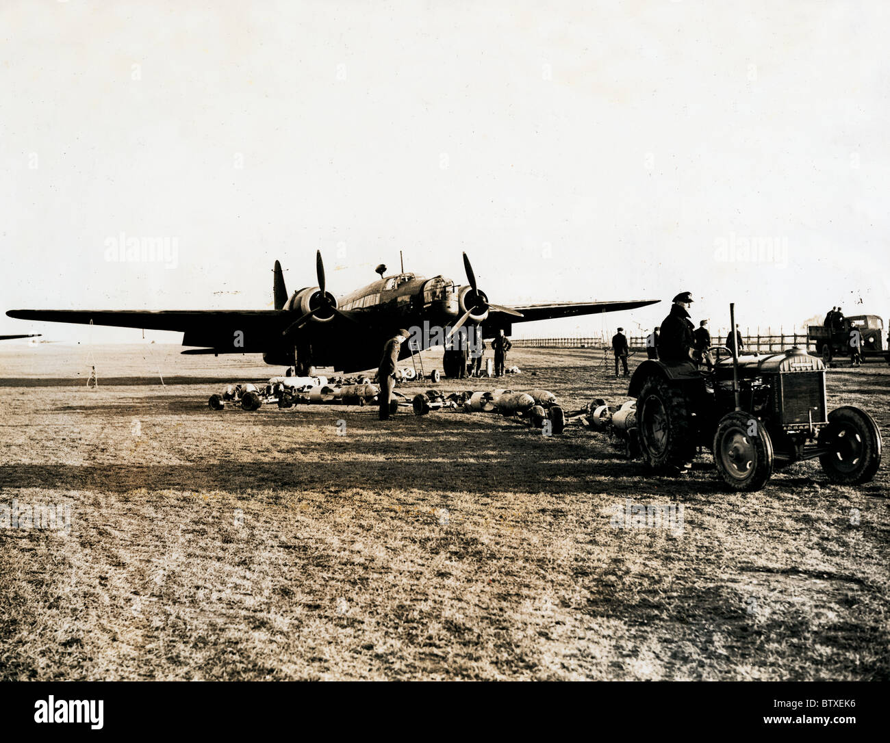 Wellington Aircraft being prepared for a New Zealand Bomber Squadron based in the Eastern Counties of England - Stock Image