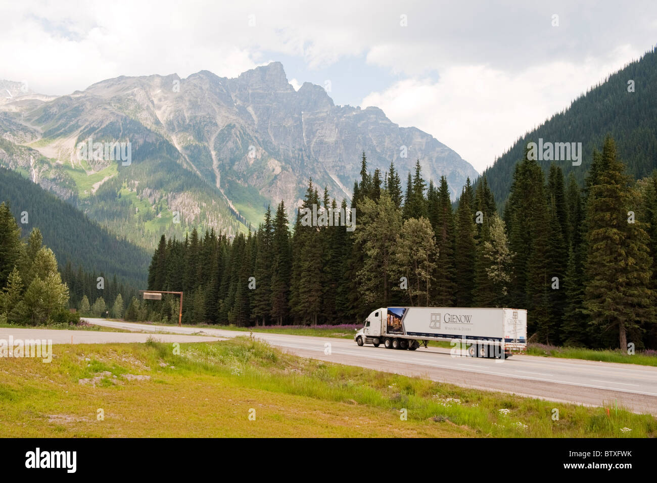 Rogers Pass Summit, at Glacier National Park Information Centre, Trans-Canada Highway British Columbia, Canada - Stock Image