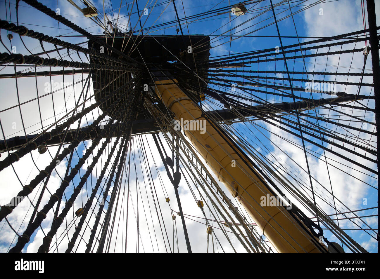 Rigging on HMS Victory - Stock Image