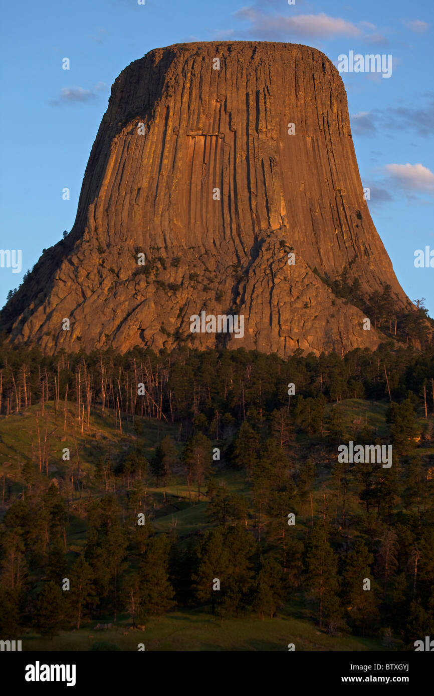 Devil's Tower National Monument - Wyoming - USA - A monolithic igneous intrusion or volcanic neck - Featured - Stock Image