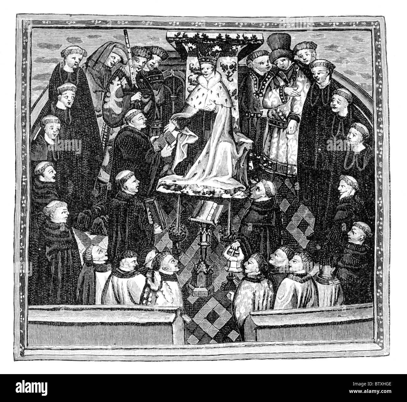 John Lydgate presenting his book 'The Lives of Saints Edmund and Fremund' to King Henry VI; Bury St Edmunds, - Stock Image