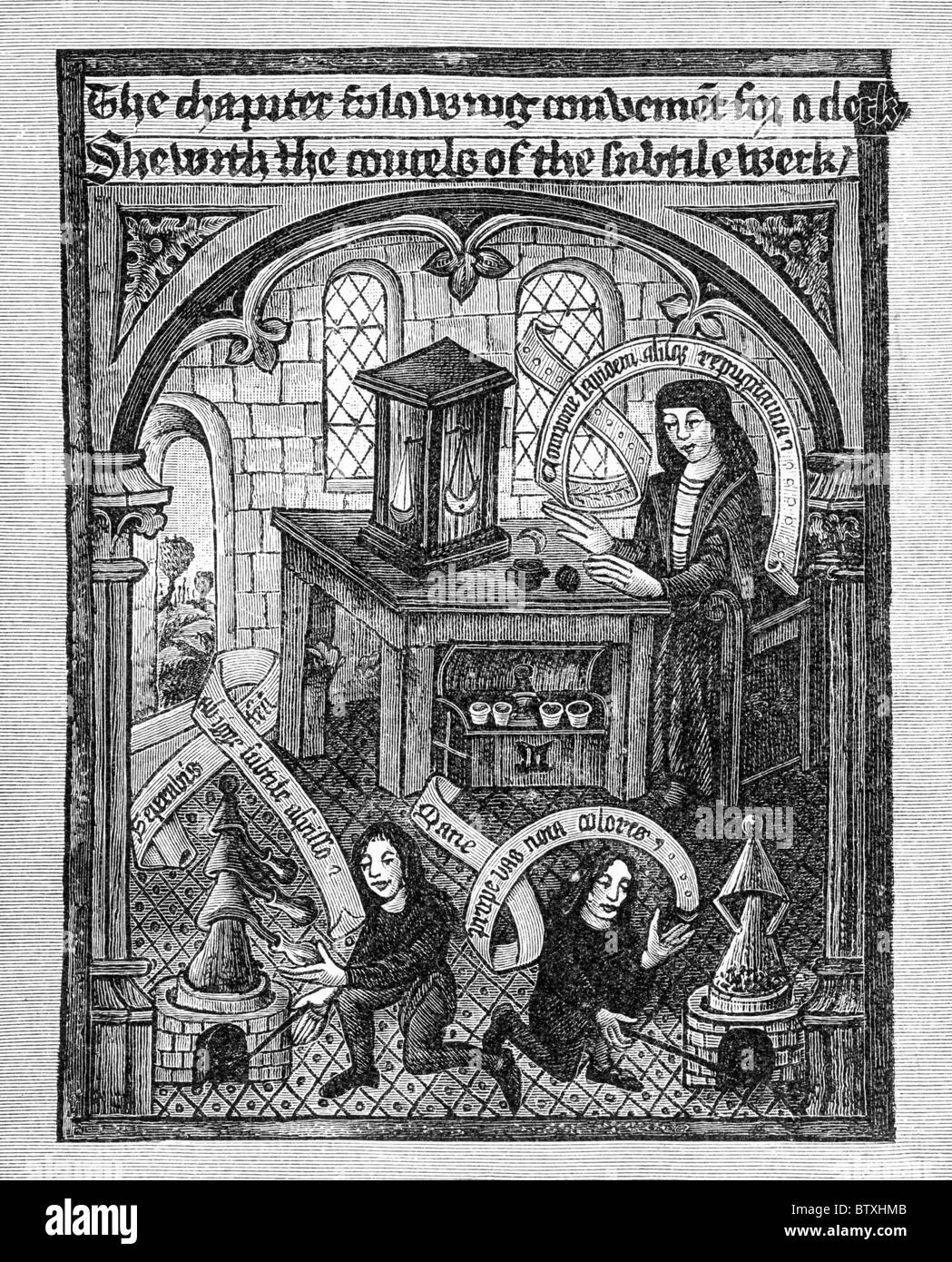 Alchemists at work; From The Ordinall of Alchymy, written, in verse, by Thomas Norton, of Bristol circa 1480 - 1490 - Stock Image