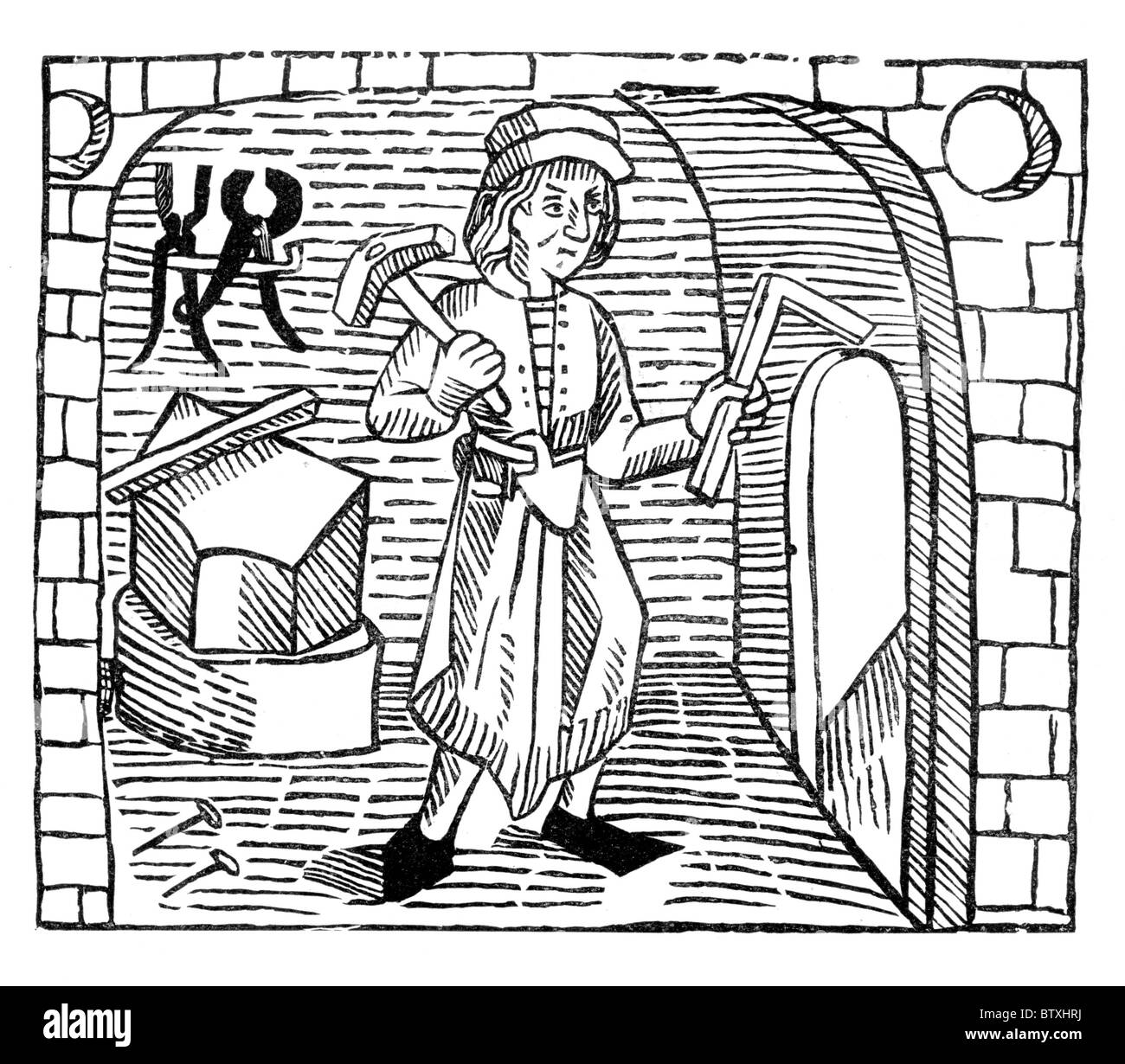 The Smith, form William Caxton's 'Game and Playe of the Chesse' published in 1474; Black and White Illustration; - Stock Image