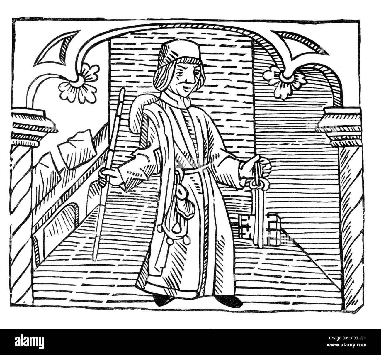 The Toll Gatherer, form William Caxton's 'Game and Playe of the Chesse' published in 1474; Black and - Stock Image