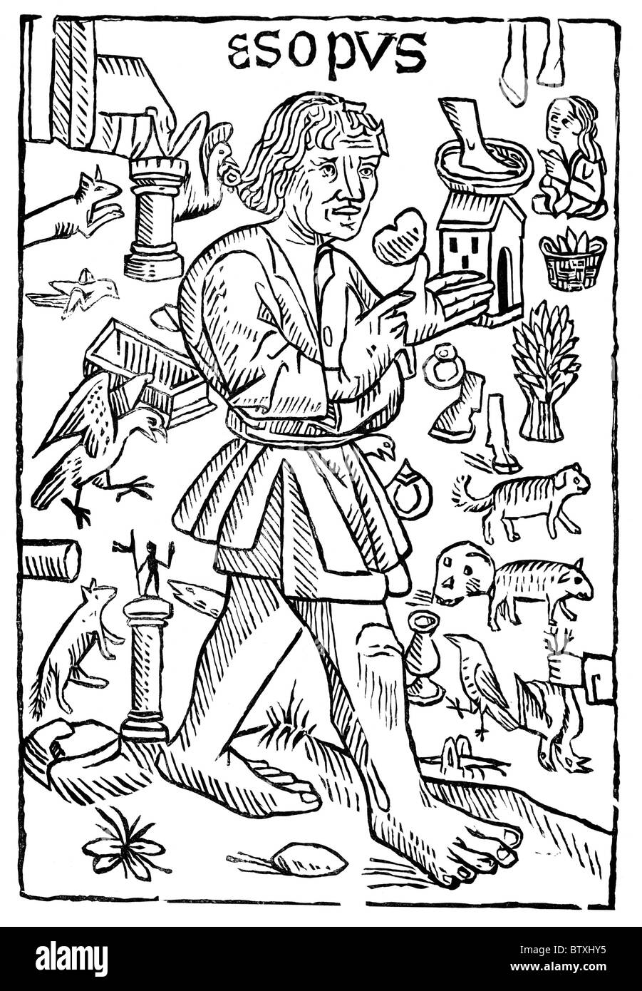 Portrait of Aesop from the frontispiece to William Caxton's 'Fables of Aesop'; Black and White Illustration; - Stock Image