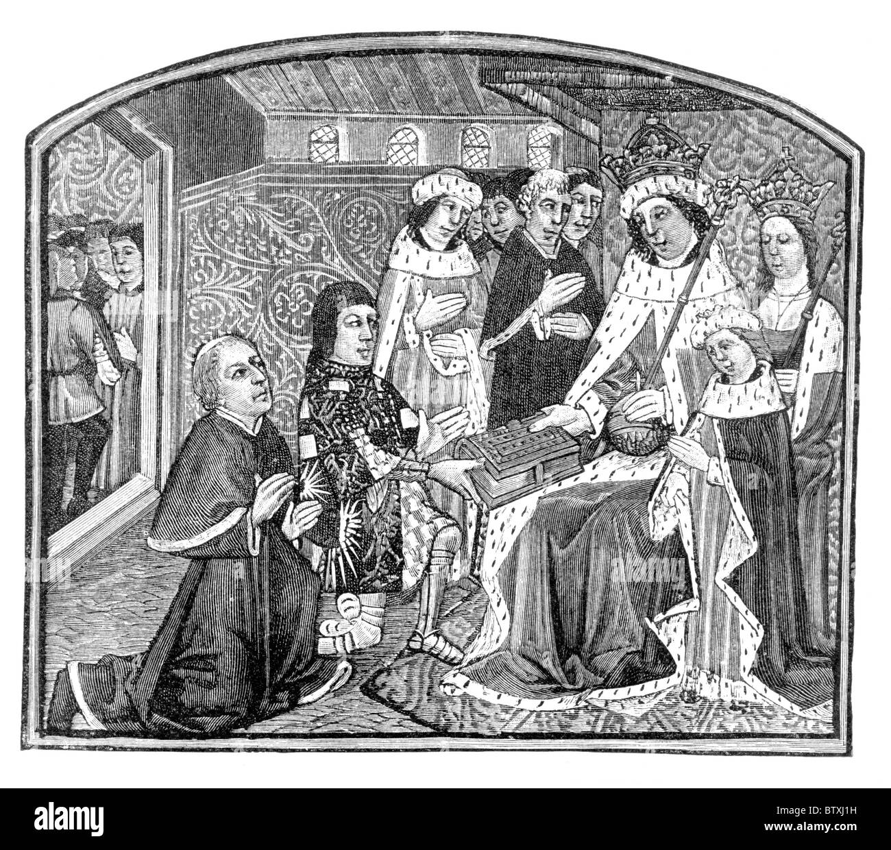 Earl Rivers presenting his book to King Edward IV; Black and White Illustration; - Stock Image