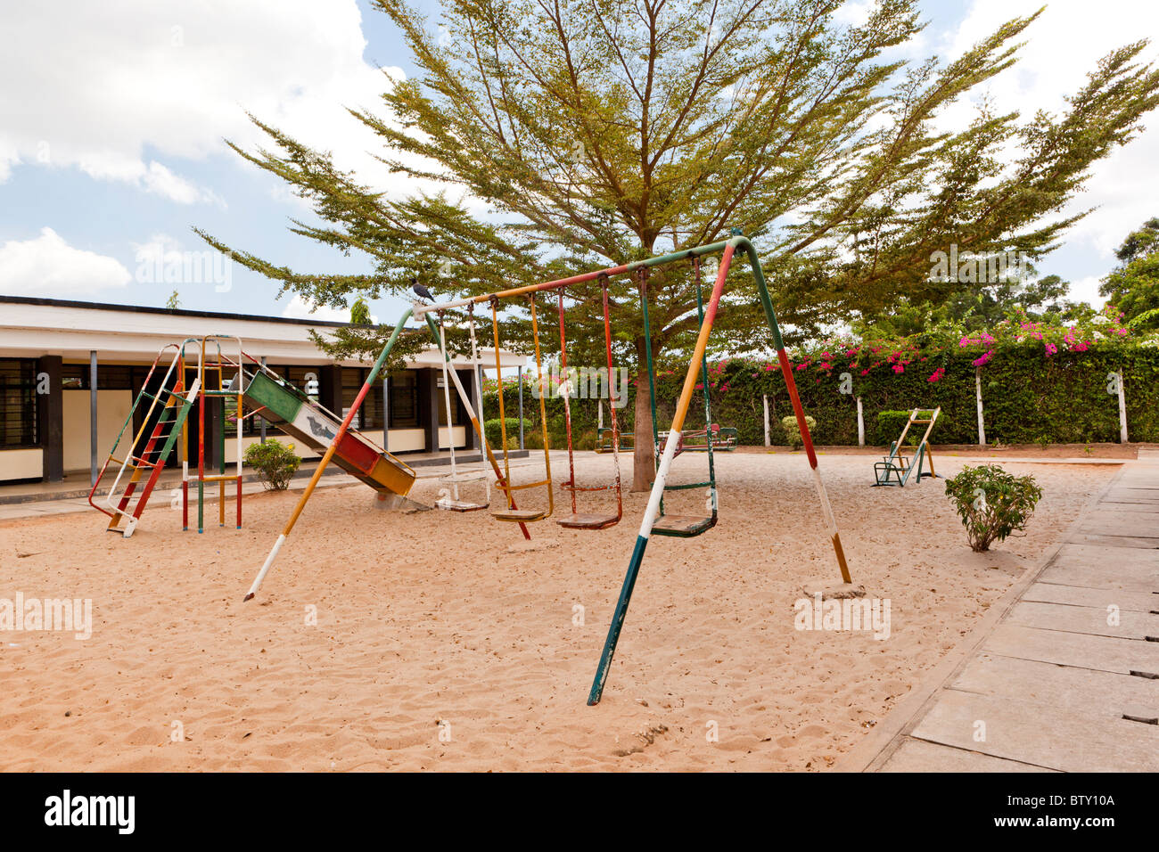 A deserted playground at a primary school. Dar es Salaam Tanzania. - Stock Image