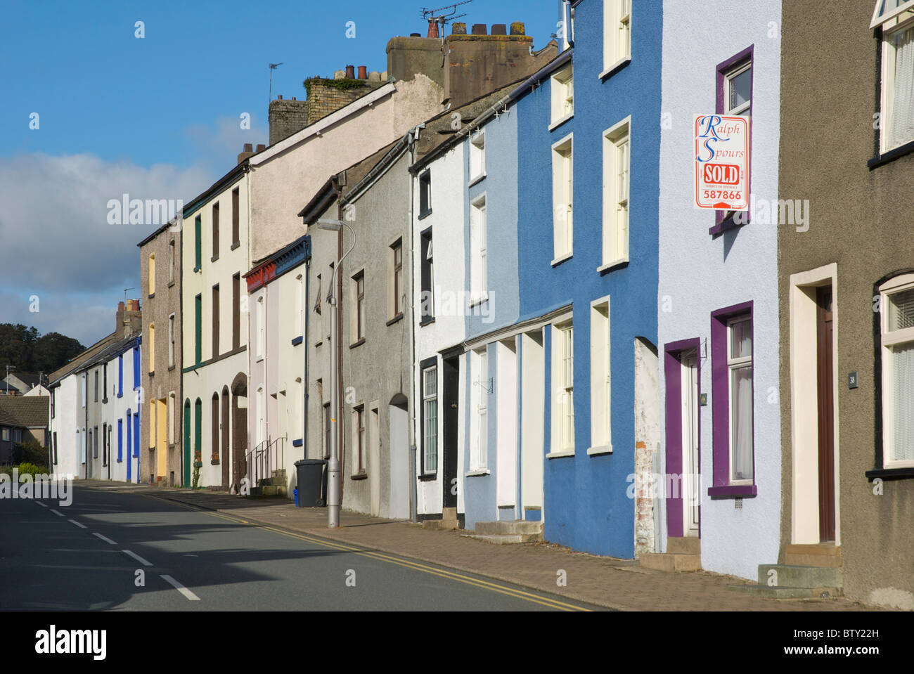 Terraced house for sale in Soutergate, Ulverston, Cumbria, England UK - Stock Image