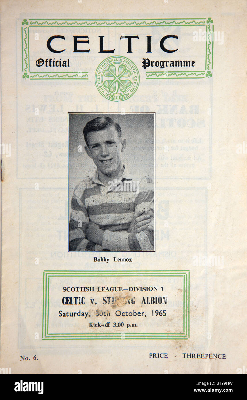 Celtic Football Club official match programme highlighting Celtic player Bobby Lennox for Celtic v Stirling Albion - Stock Image