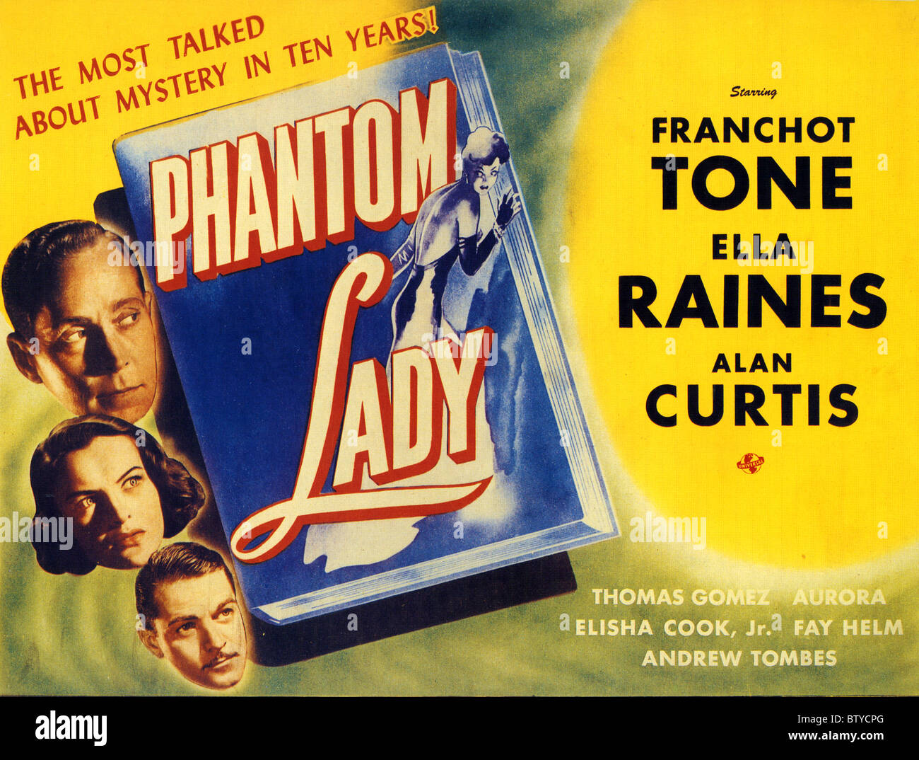 PHANTOM LADY Poster for 1944 Universal film with Franchot Tone - Stock Image