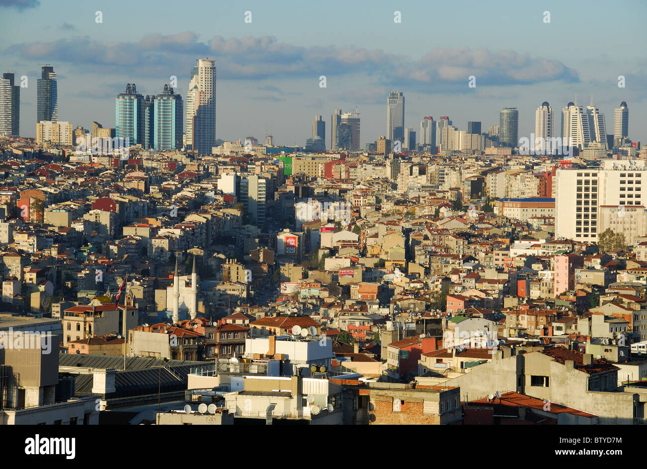 ISTANBUL, TURKEY. An evening view over Beyoglu towards the business and financial districts of Sisli and Levent. - Stock Image