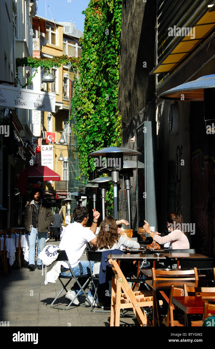 ISTANBUL, TURKEY. Sofyali Sokagi, a popular eating and drinking spot by Tunel off Istiklal Caddesi in Beyoglu district. - Stock Image