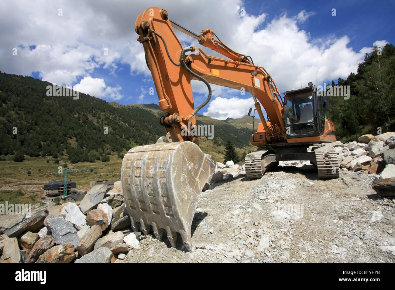 Excavator - Road Construction - Stock Image