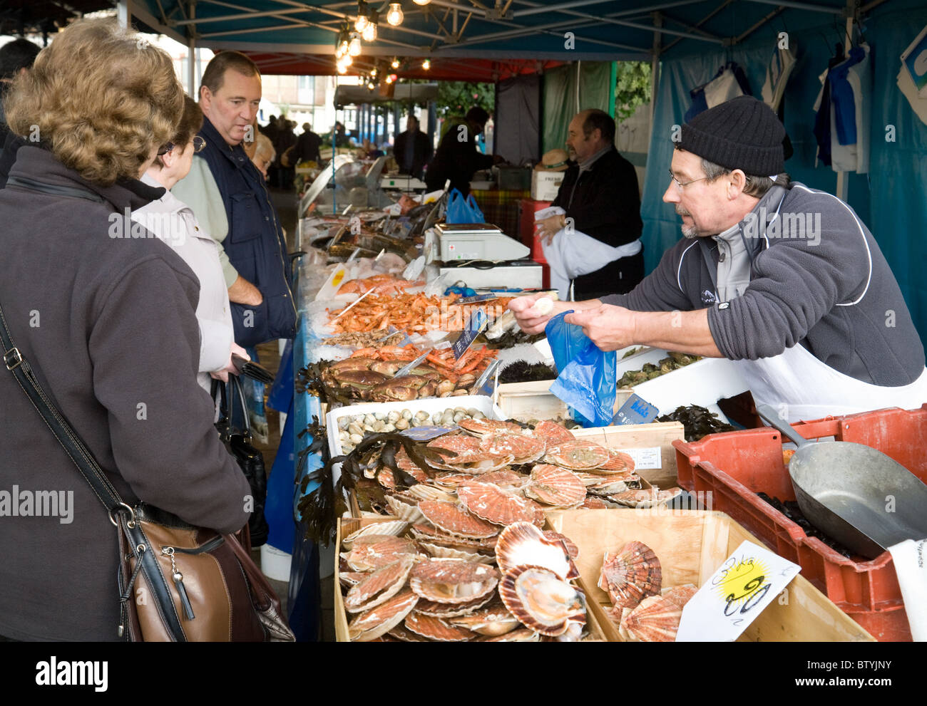 A fishmonger selling fish in the French market town of Coulommiers,  ile de france Northern France - Stock Image
