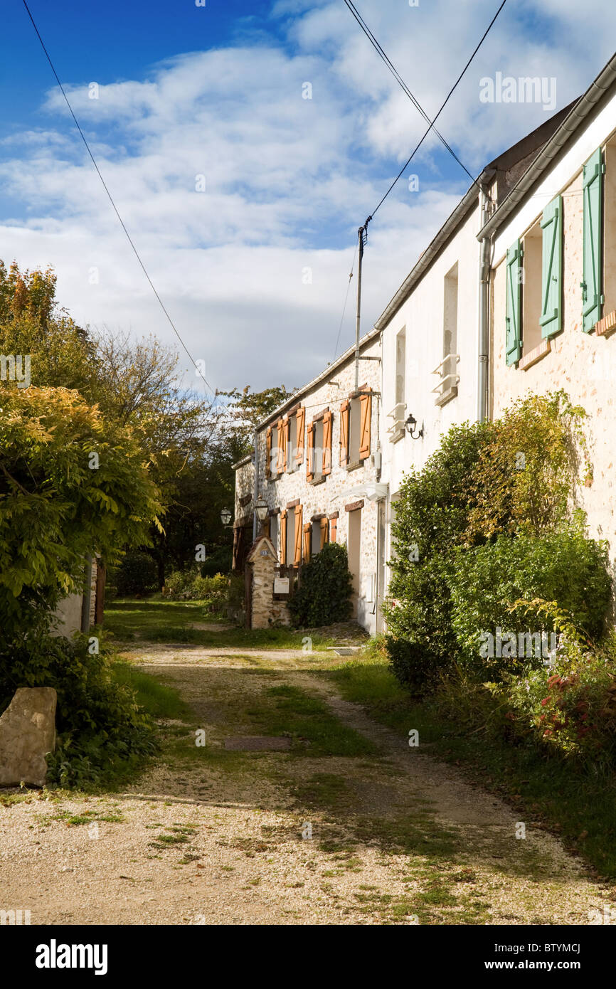 terraced houses in a country village, St Simeon near Coulommiers,  ile de france Northern France - Stock Image