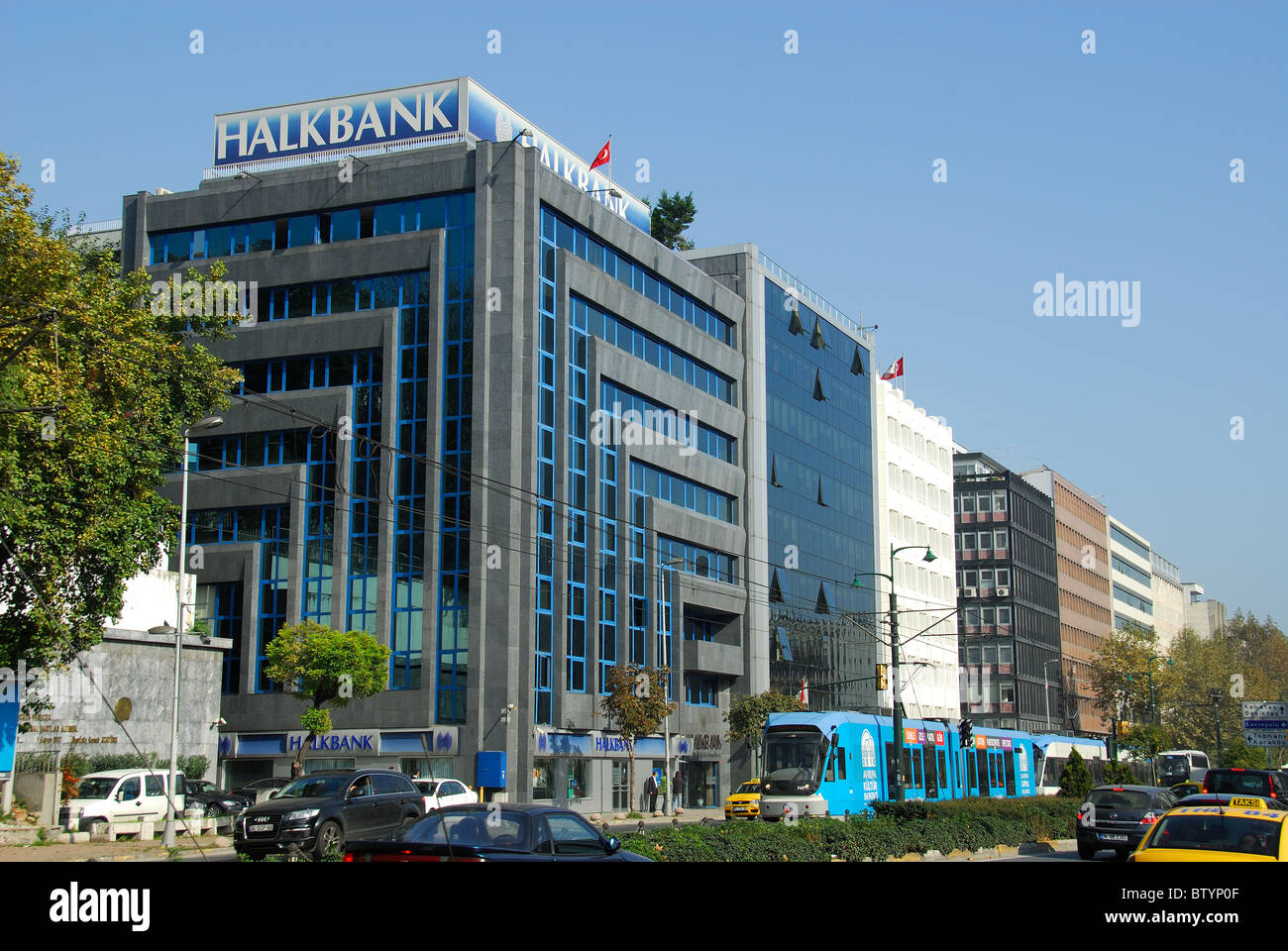 ISTANBUL, TURKEY. Banks and other financial institutions on Necatibey Caddesi in the Tophane district. 2010. Stock Photo
