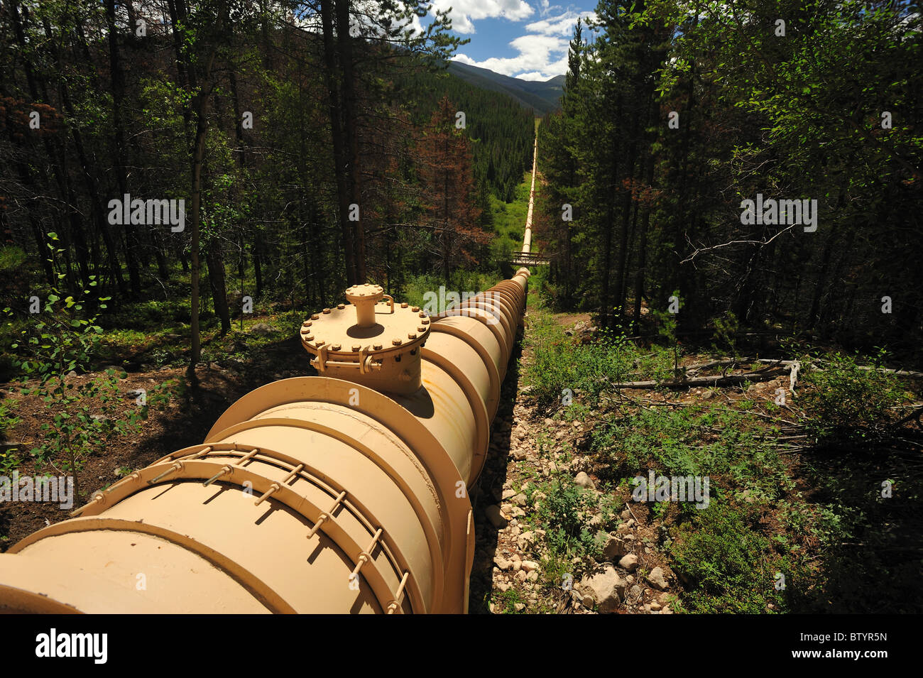 Water diversion pipeline, Fraser, Colorado - Stock Image