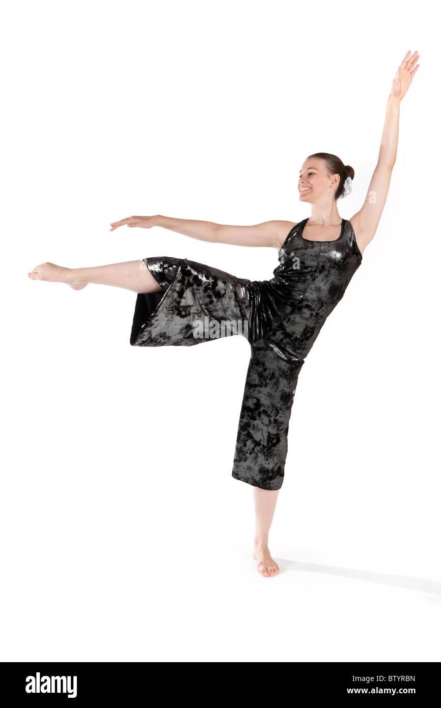Studio shot of beautiful young girl in modern dancing costume Stock Photo