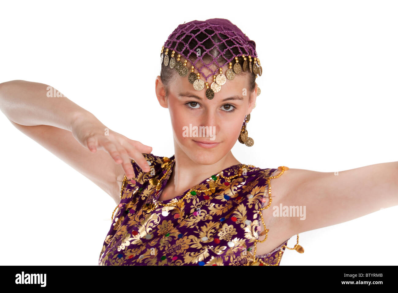 cf6b1da14b1ae Studio shot of beautiful young girl in Turkish dancing costume - Stock Image