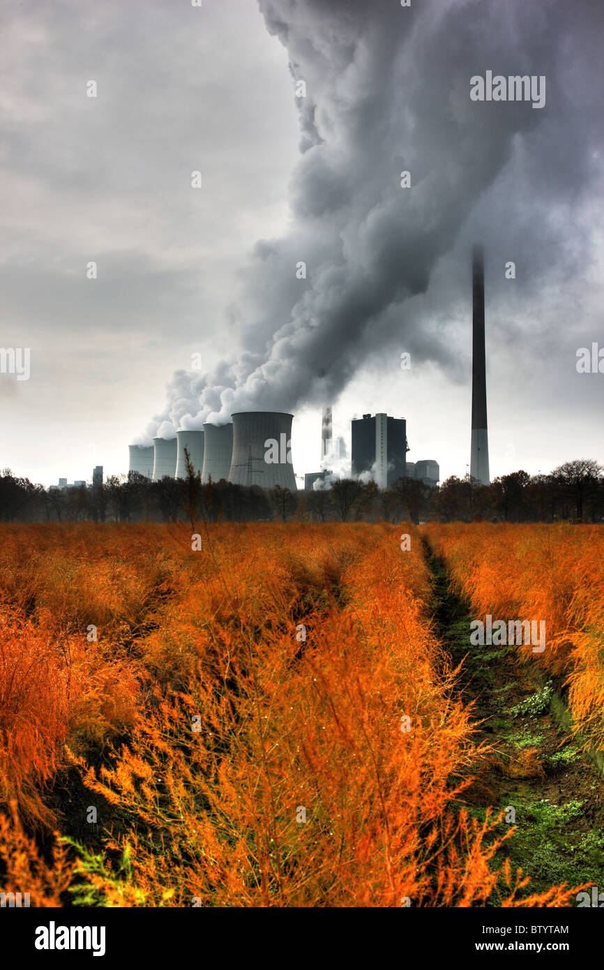 Coal fired power plant., EON Energy company. Cooling towers of one ot the biggest power plants in Europe. Gelsenkirchen, - Stock Image