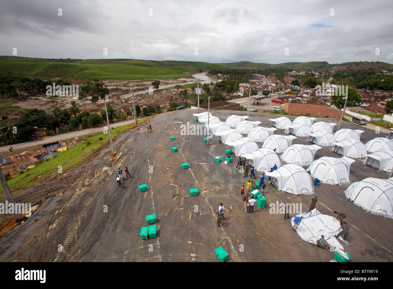 Shelterbox camp at Aqua Preta, Pernambucco, Brazil set up floowing massive floods in July 1010 - Stock Image