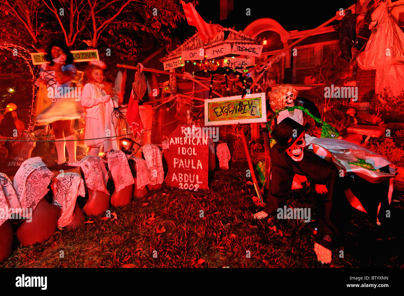 Perfect Trick Or Treaters At House Decorated For Halloween On ...