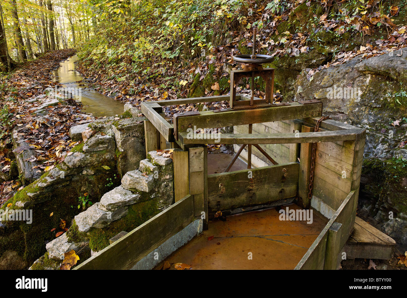 Mill Race at the Rice Grist Mill at Norris Dam State Park in Anderson County, Tennessee - Stock Image