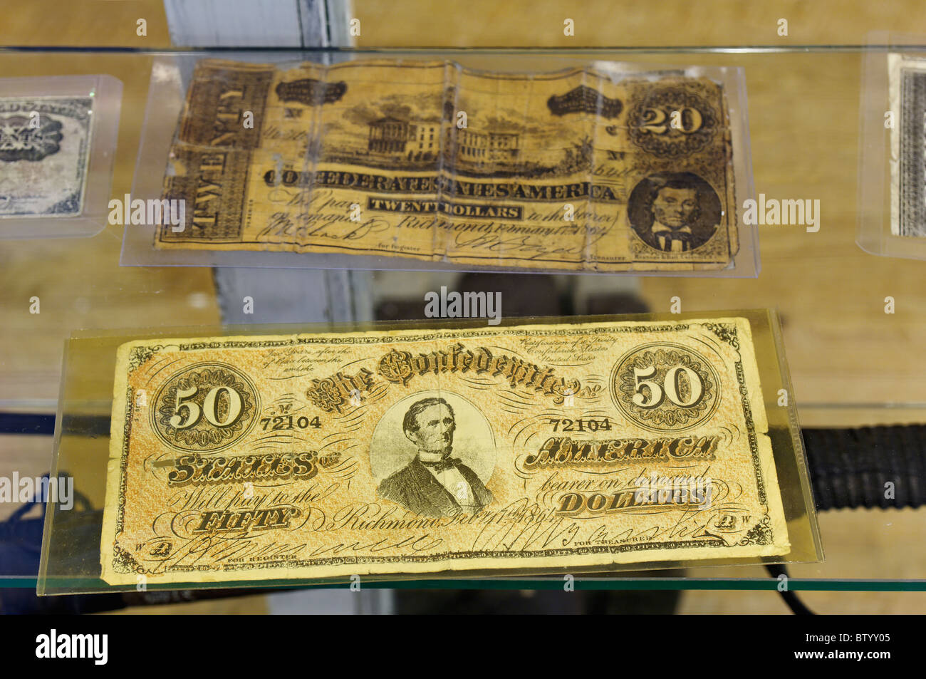 Confederate Currency on Display at the Lenoir Museum Cultural Complex at Norris Dam State Park in Anderson County, - Stock Image