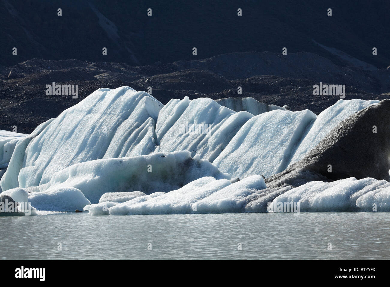 Icebergs in Tasman Glacier Terminal Lake, Aoraki / Mt Cook National Park, Canterbury, South Island, New ZealandStock Photo
