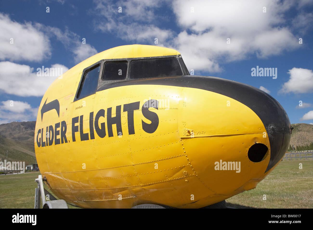 Glider Flights Sign, Omarama, North Otago, South Island, New Zealand - Stock Image