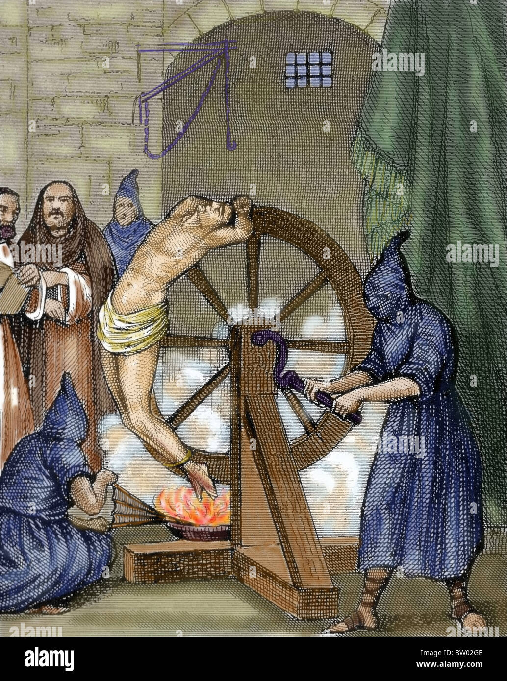 Inquisition. Instrument of torture. Wheel of Fortune. Colored engraving. - Stock Image