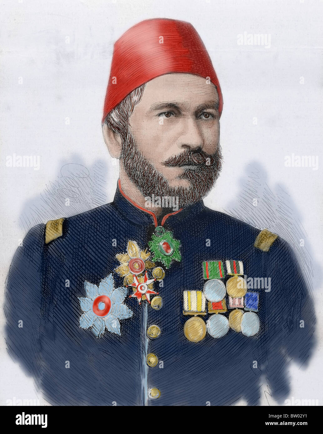 Muhammad Ali Pasha (b. 1829). General in chief of the Turkish army in Bulgaria. Colored engraving. - Stock Image