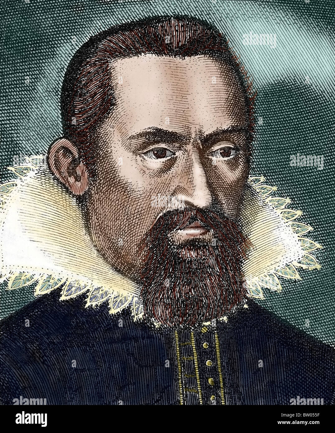 Kepler, Johannes (1571-1630) German mathematician and astronomer. Considered the founder of modern astronomy. Colored - Stock Image