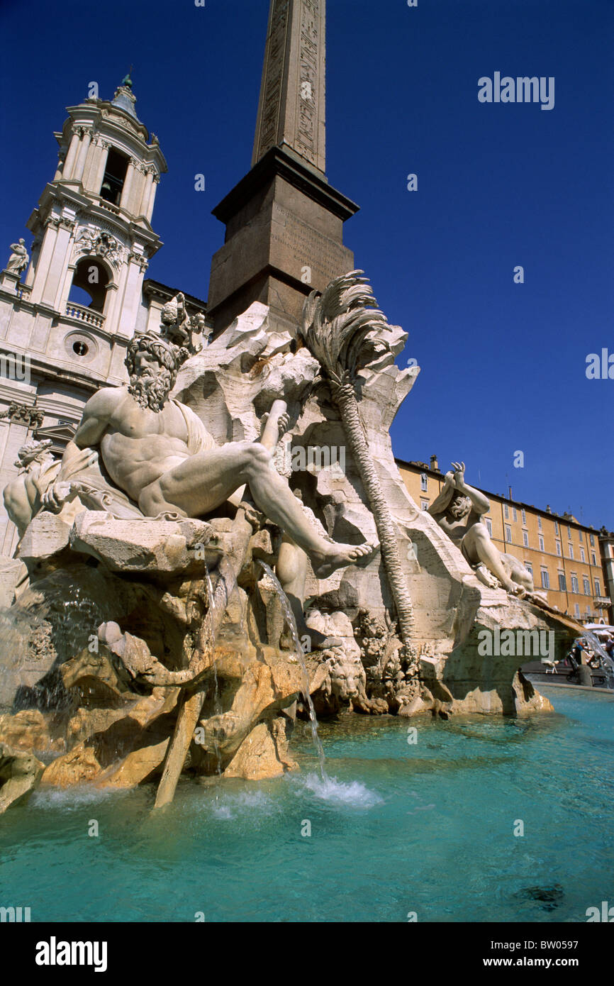 italy, rome, piazza navona, fountain of the four rivers - Stock Image