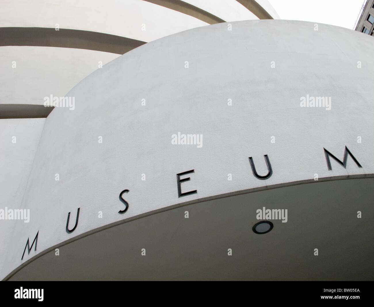 Exterior detail of of Guggenheim Museum in Manhattan New York City USA - Stock Image