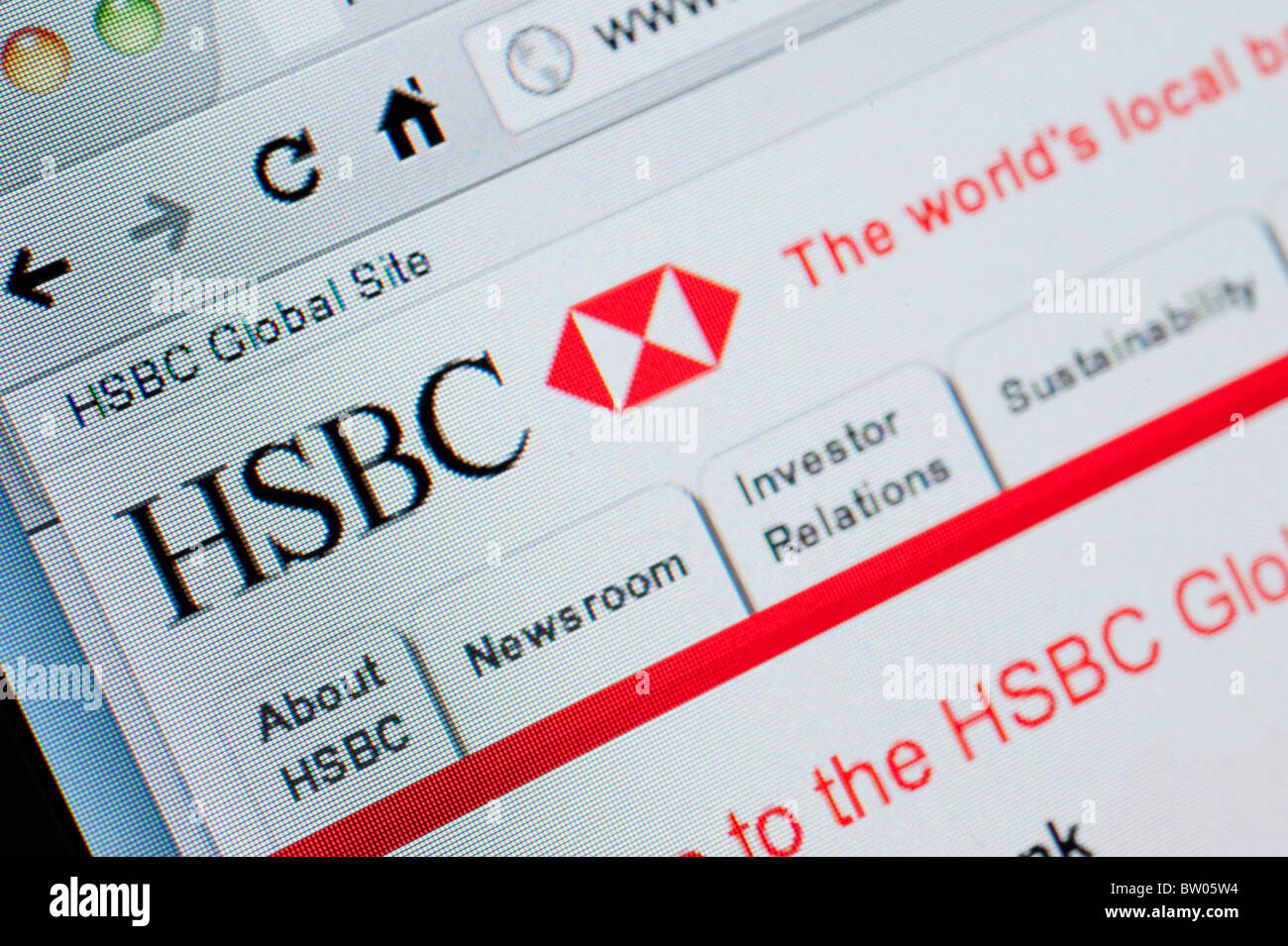 Detail of screenshot from website of HSBC bank online banking homepage - Stock Image