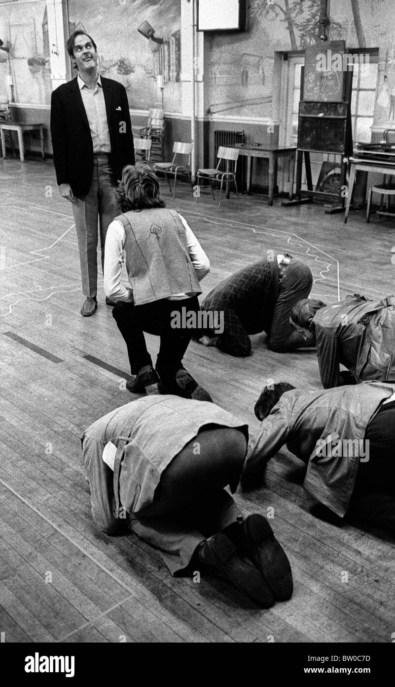 The cast of Monty Python's Flying Circus during rehearsals in Acton Working Mens Club in October 1970 - Stock Image