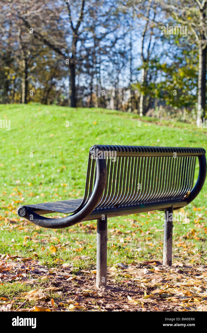 VERTICAL SELECTIVE FOCUS IMAGE OF A METAL PARK BENCH IN AUTUMN - Stock Image