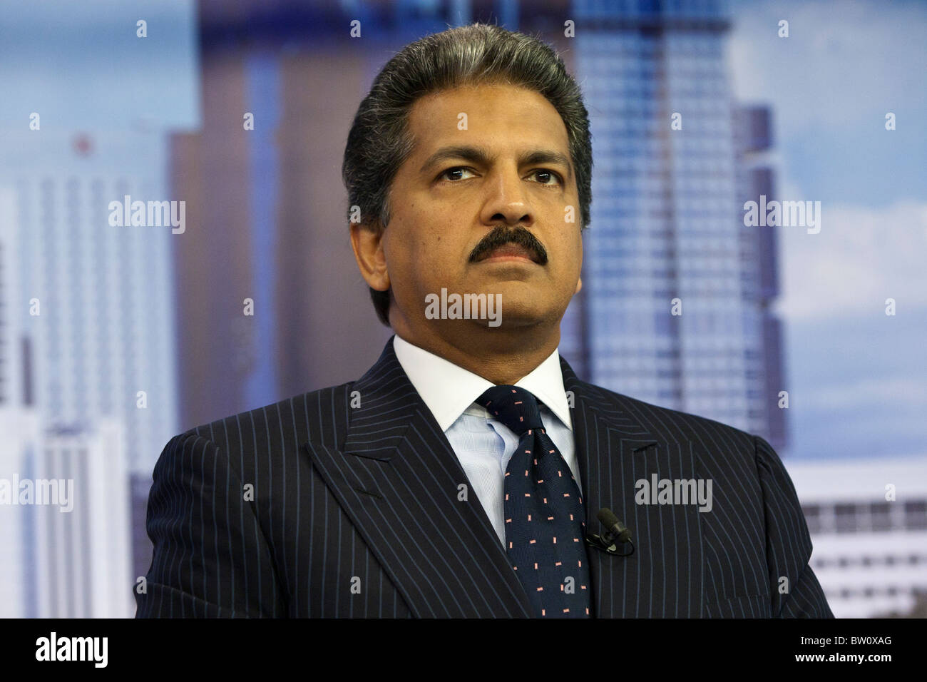 Anand Mahindra, vice chairman and managing director of Mahindra & Mahindra Ltd., speaks during an interview - Stock Image