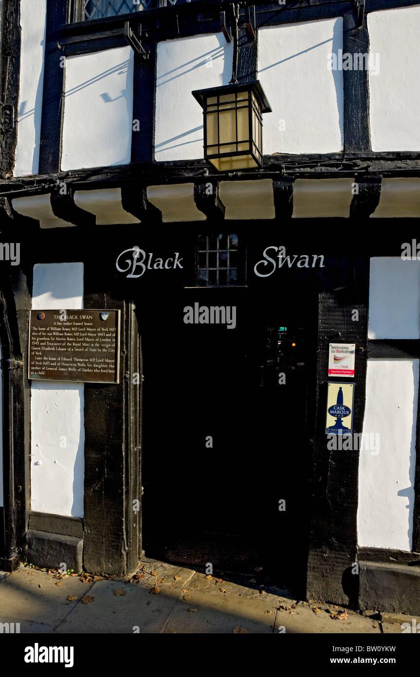Entrance to the Black Swan pub Peasholme Green York North Yorkshire England UK United Kingdom GB Great Britain - Stock Image