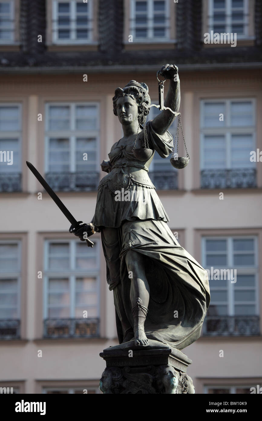 Lady Justice Statue in Frankfurt Main, Germany - Stock Image