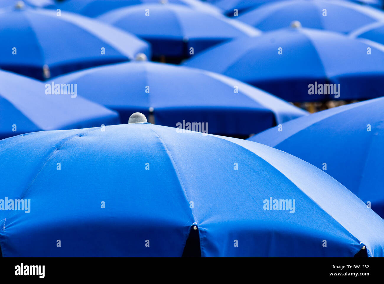 Blue sunshades, Italy, Europe Stock Photo