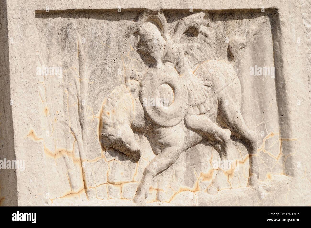 Battle scene detail, Arco di Settimio Severo, Foro Romano - Stock Image