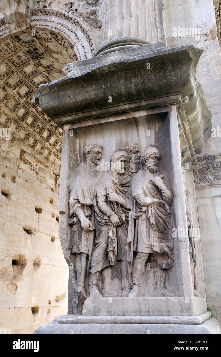 Battle scene detail, Arco di Settimio Severus, Foro Romano - Stock Image